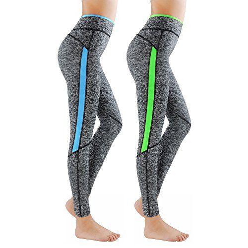 Lot de 2 GoVIA Legging pour femme Pantalon de course à pied Pantalon de  sport respirant Pantalon de Yoga Fitness Taille haute Long Rayures 4113  BleuVert S M d006839d8b9