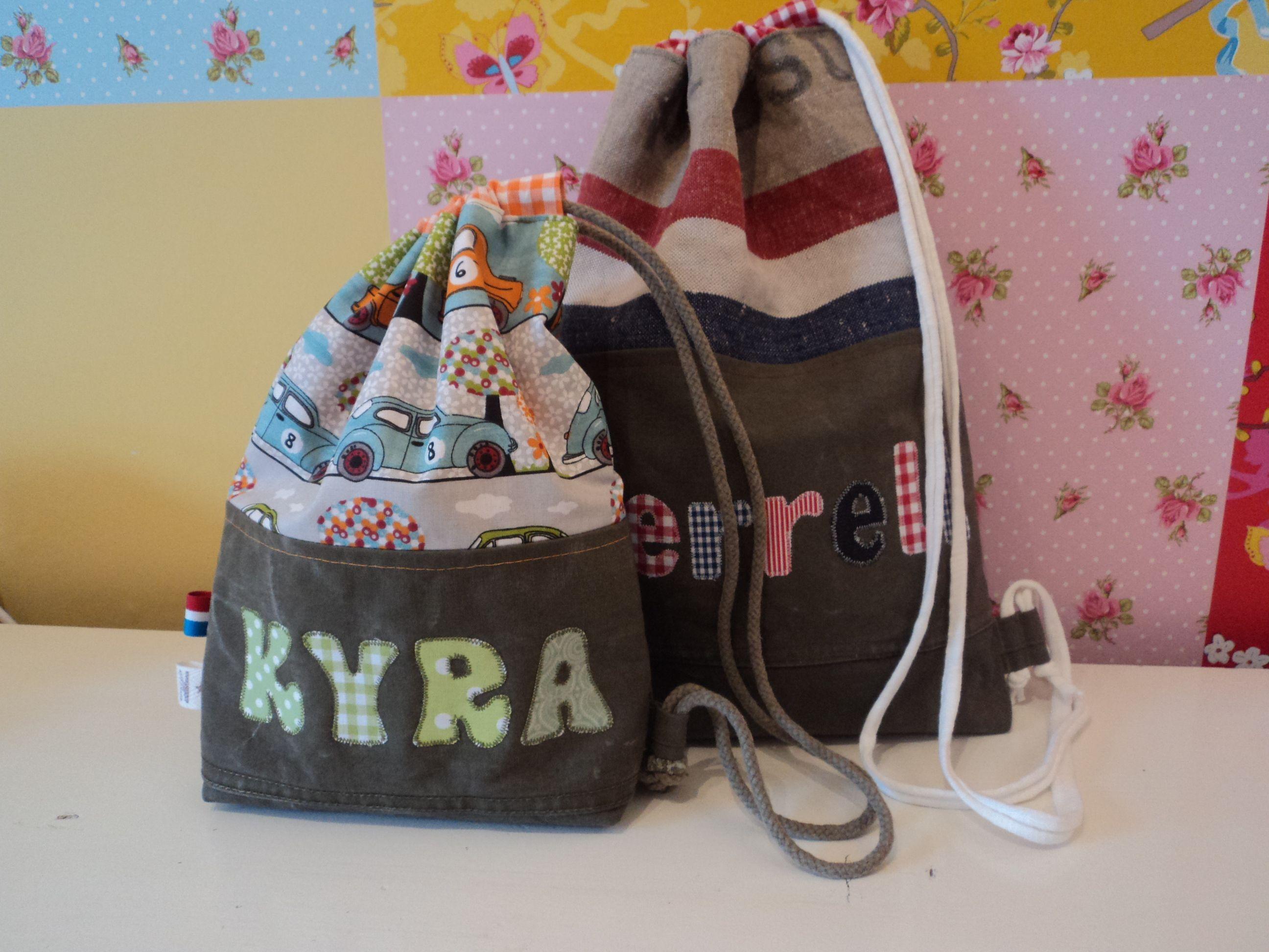 Tas met naam voor speelgoed, gym kleding ed, made by Noekies.