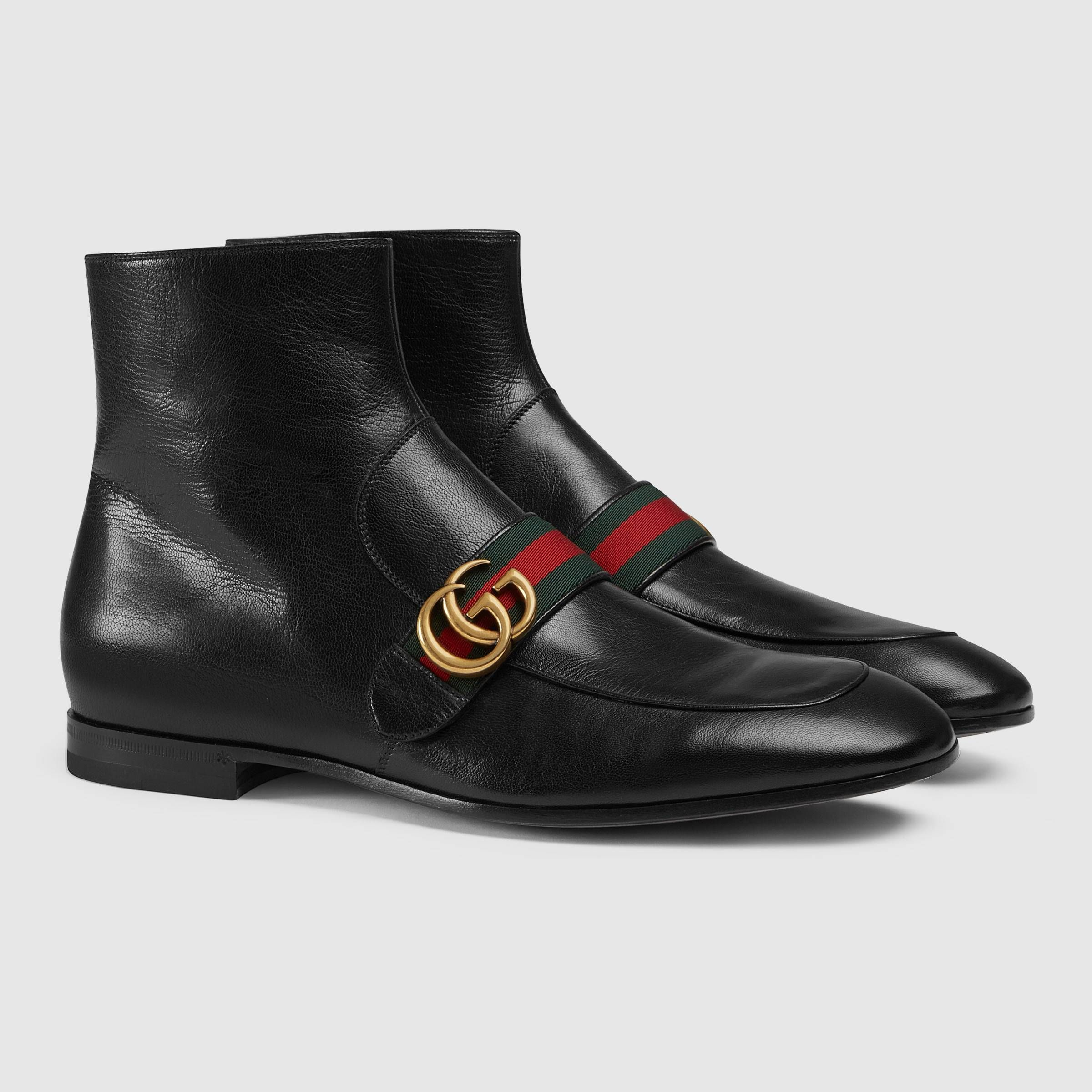 Leather boot with Double G - Gucci Men