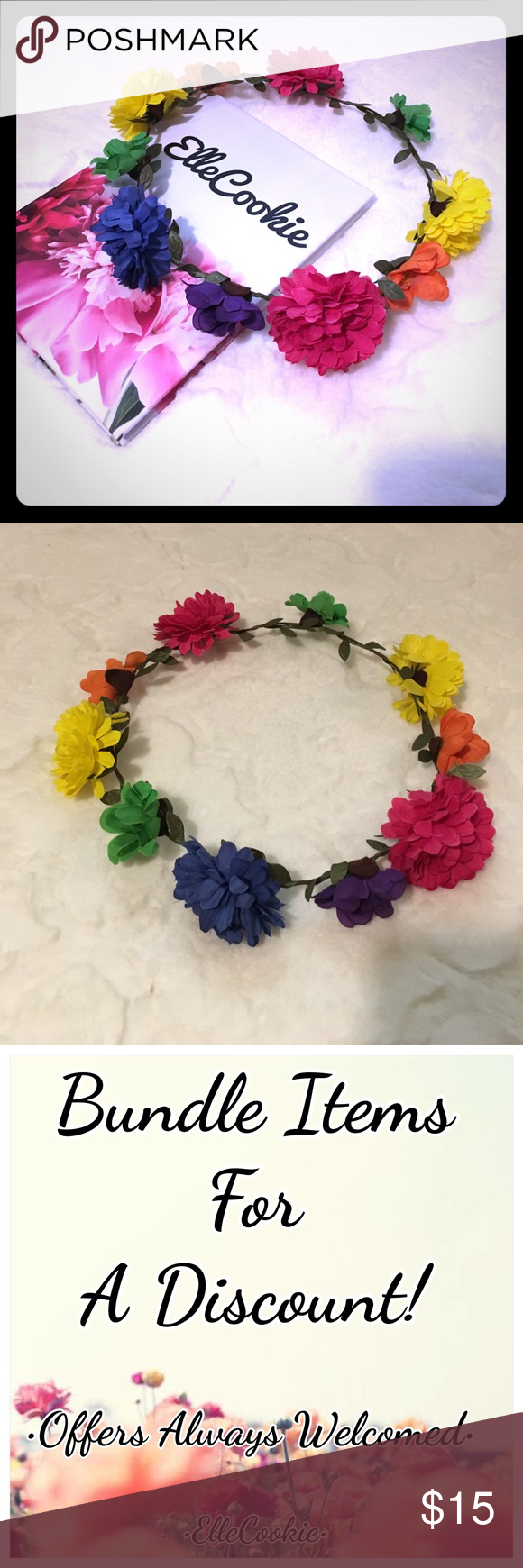 Rainbow flower crown rainbow flowers faux flowers and crown flower flower izmirmasajfo