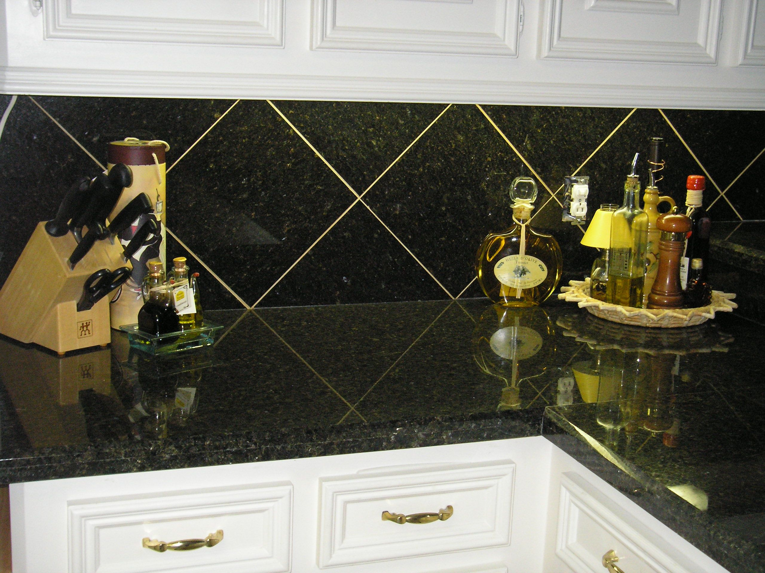 12x12 Granite Diagonal Tile On Backsplash Backsplash Stone Tile Backsplash Tile Backsplash