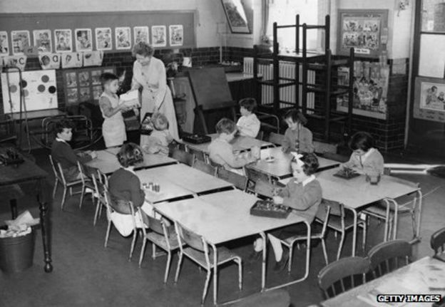 Depleted classroom in Queen's Park, London, during the Asian flu epidemic of 1957