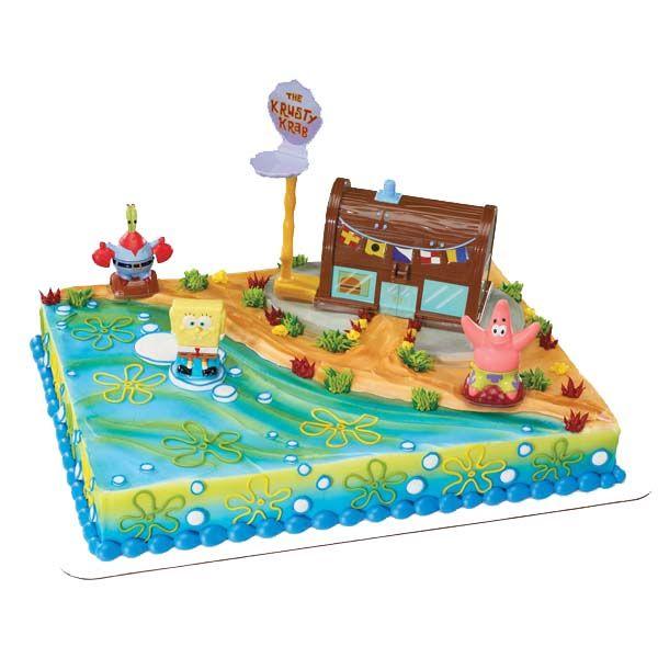SPONGEBOB Patrick Cake Birthday Party Decoration Ocean Favors Kraby Patty Topper