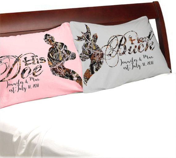 Buck And Doe Grey And Pink Camo Her His Pillowcases Couple Anniversary Camouflage Bedding Pillow Pink Bedroom Decor Valentine Bedroom Decor Valentines Bedroom