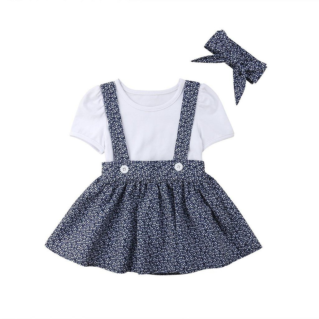 UK Toddler Kids Baby Girls Bowknot Tops+Skirt Suspender Outfits Clothes Headband