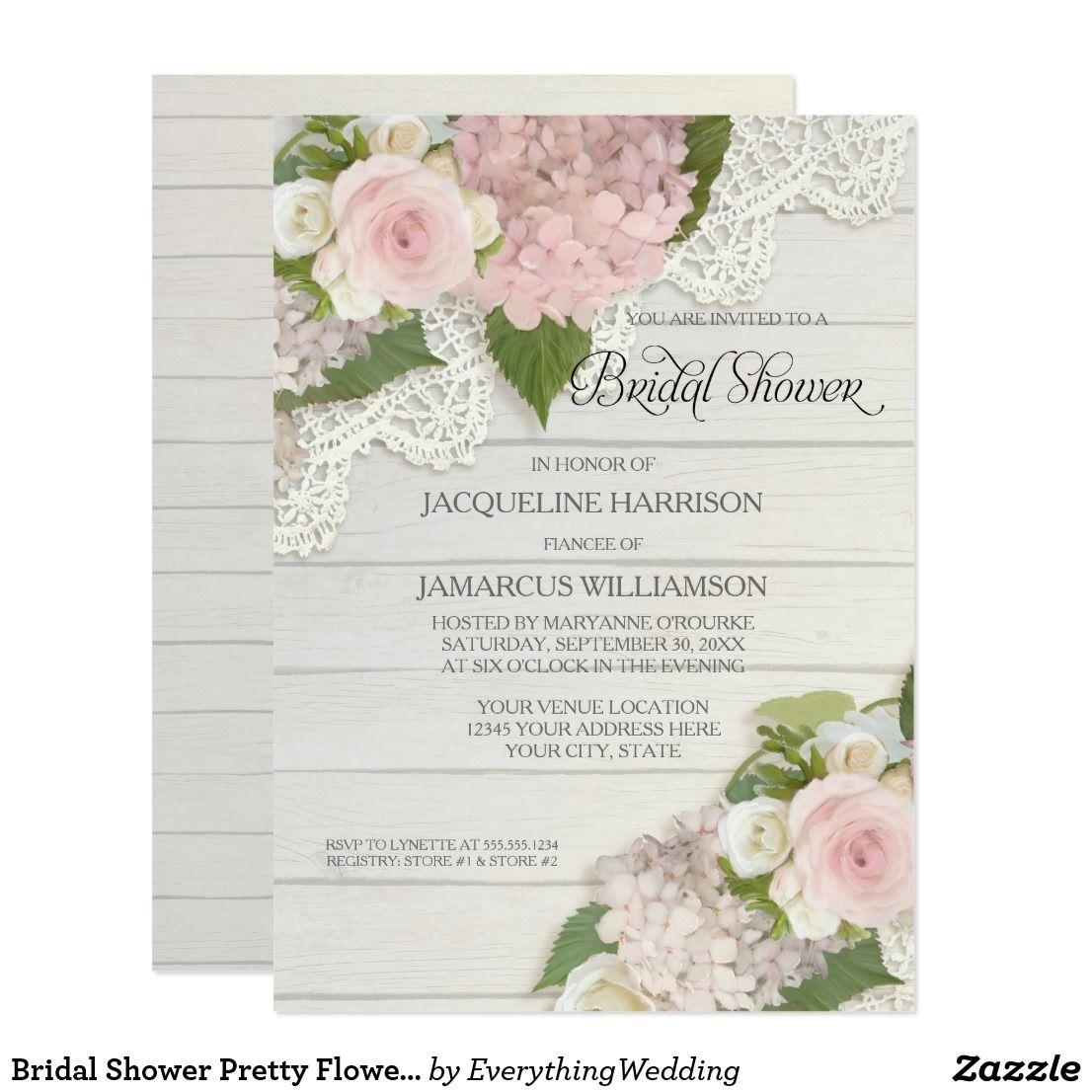 bridal shower pretty flower vintage lace hydrangea invitation in