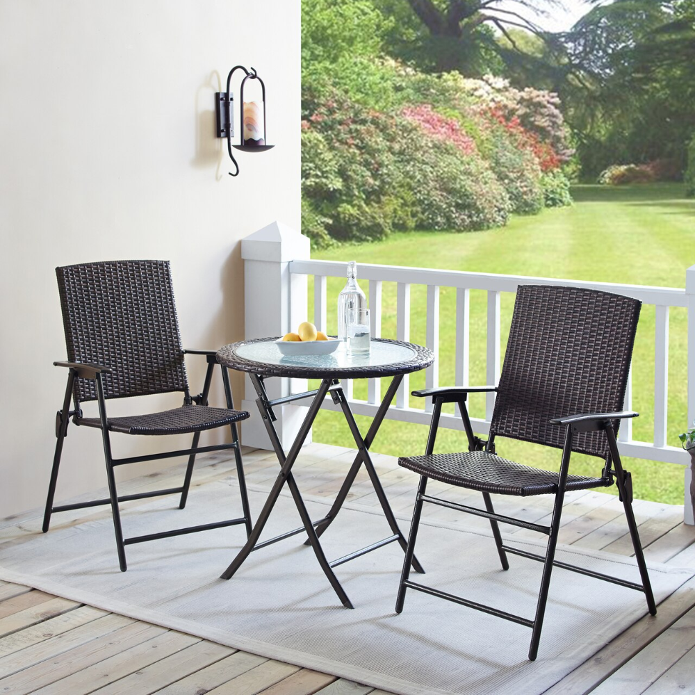 Wicker 3 Piece Folding Outdoor Bistro Set With Glass Table Top Walmart Com In 2021 Balcony Table And Chairs Backyard Furniture Outdoor Patio Furniture Sets 3 piece bistro patio set