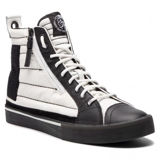 Sneakersy Diesel D Yelows Mid Patch Y01819 P2090 H1527 White Black Sneakersy Polbuty Meskie Eobuwie Pl White And Black Black Top Sneakers