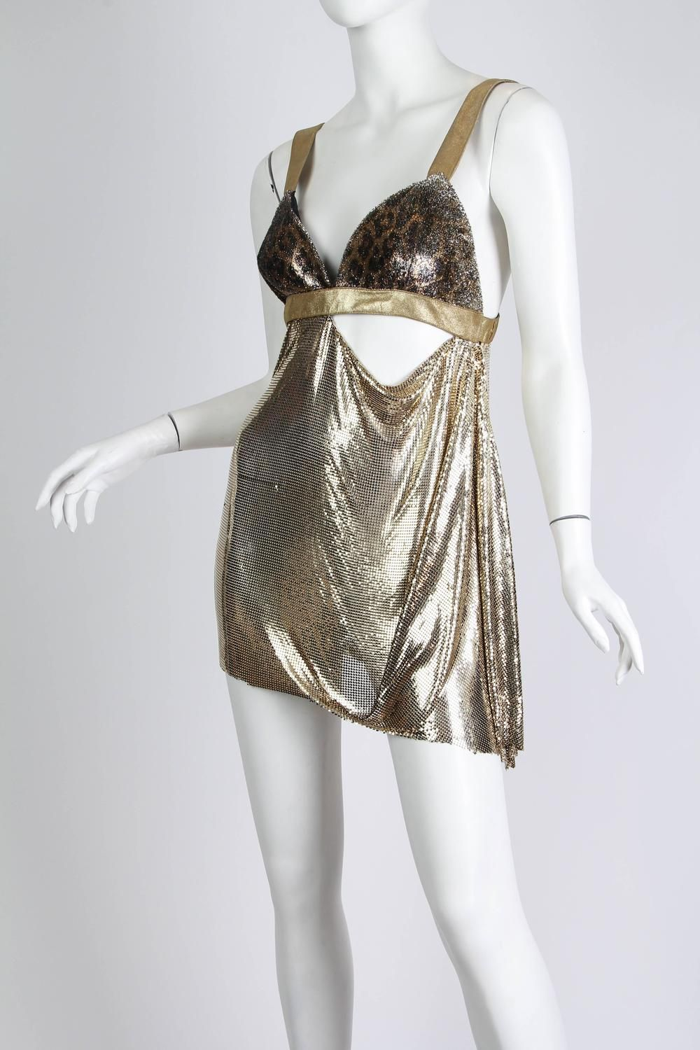 56f474698460 1990s Gianni Versace Gold Metal Mesh and Leopard Ad Campaign dress | From a  collection of