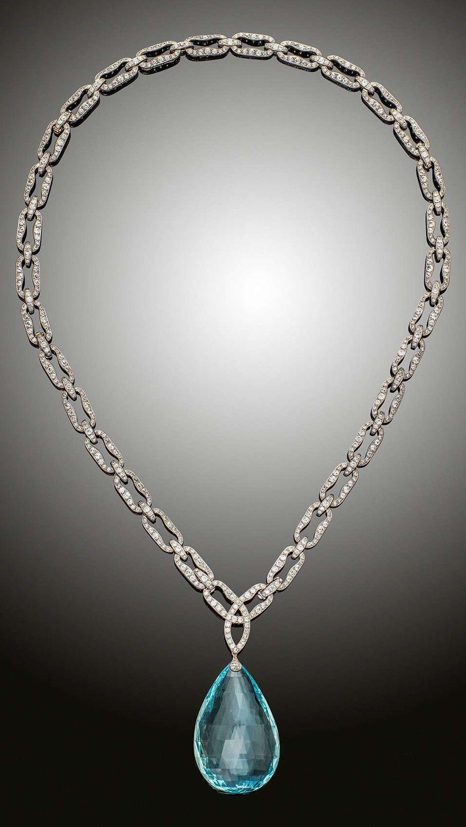 An edwardian aquamarine and diamond pendant necklace english circa an edwardian aquamarine and diamond pendant necklace english circa 1910 a large aquamarine aloadofball Images