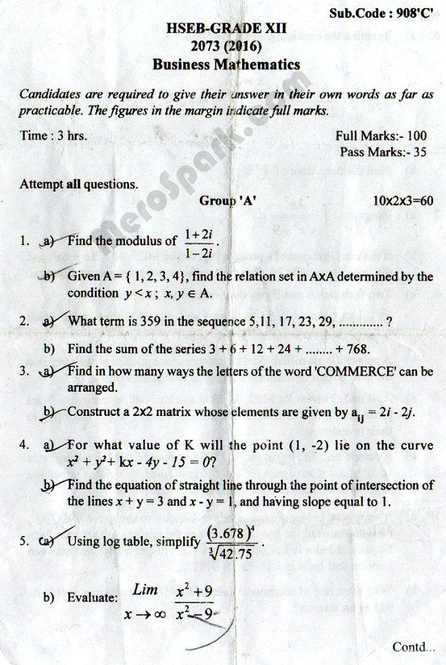 Business Mathematics - Old Question Paper 2073 (2016) hseb