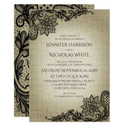 Burlap and Black Lace Wedding Invitation   Lace weddings, Weddings ...