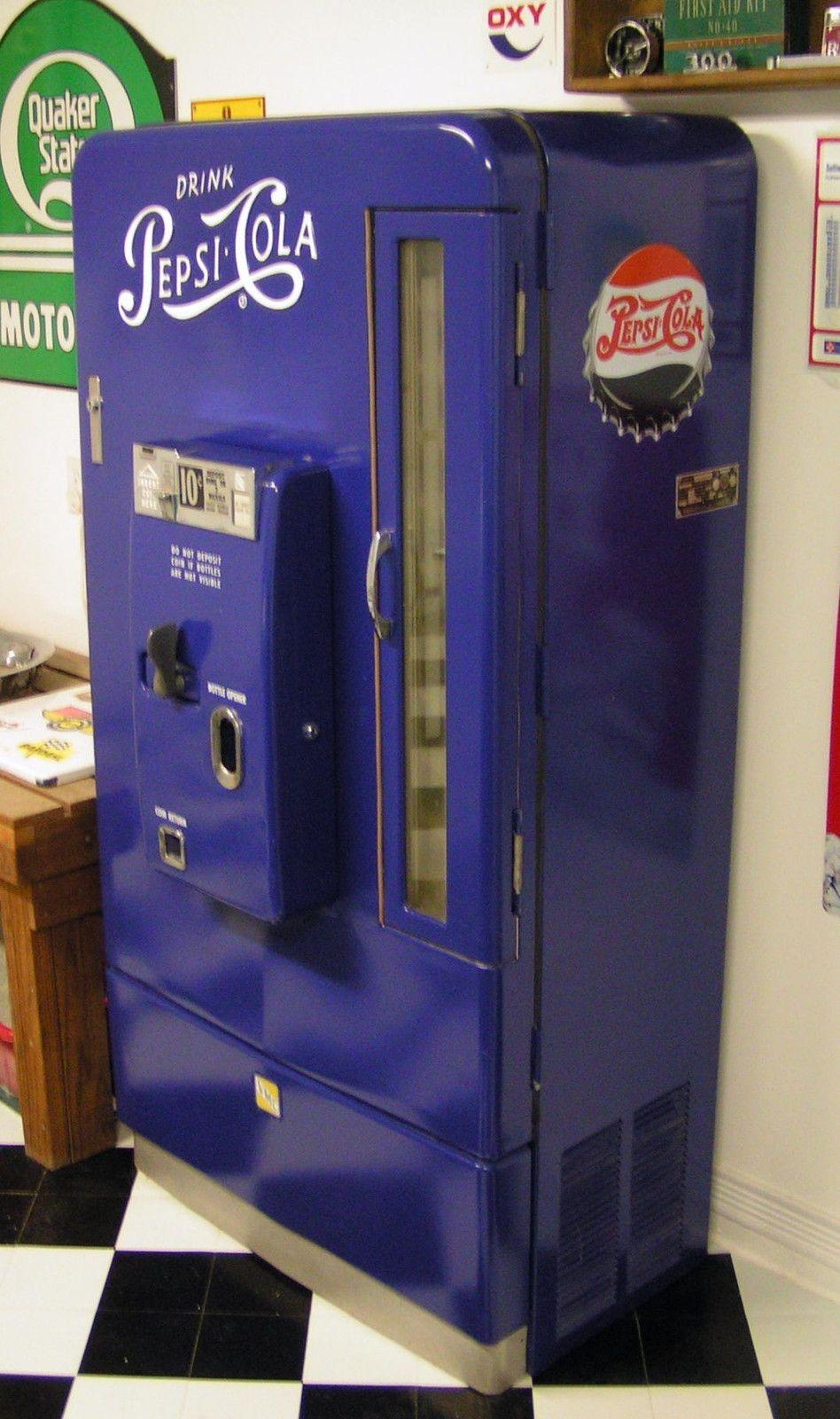 Coca Cola Fridge >> Details about Vintage PEPSI-COLA Vendorlator VMC 110 Restored Soda Pop Vending Machine | Pepsi ...