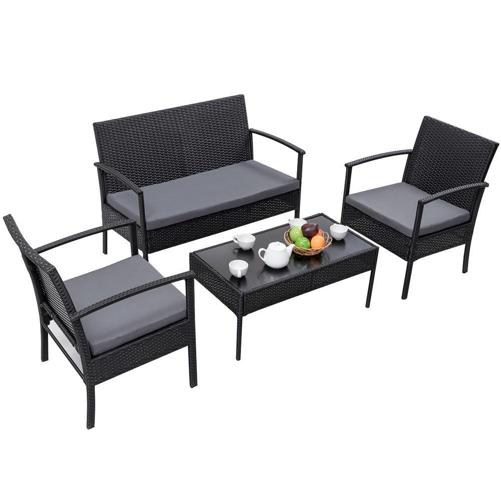 Costway Black 4 Piece Rattan Wicker Patio Conversation Set Loveseat Sofa With Gray Cushions Garden Yard Furniture Hw54690bk In 2020 Patio Furniture Sets Furniture Sets Outdoor Furniture Sets