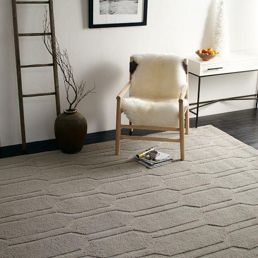 Honeycomb Textured Wool Rug Plaster West Elm Modern Wool Rugs Rugs Modern Furniture Sale