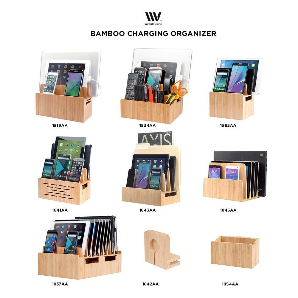 Hanging Charging Station Mobilevision Bamboo Universal Multi Device Cord Organizer Stand