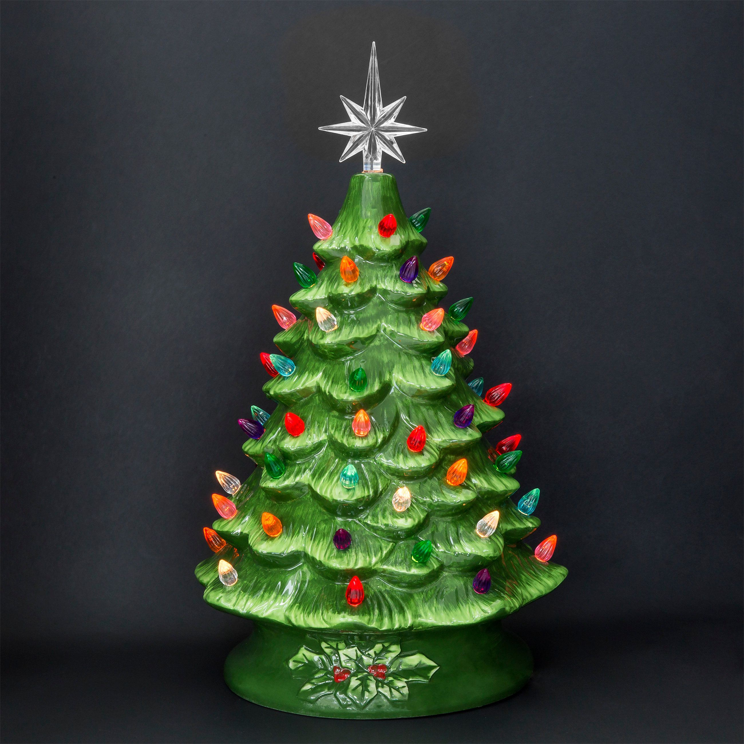 "Ceramic Tabletop Christmas Tree With Lights Adorable Best Choice Products 15"" Prelit Ceramic Tabletop Christmas Tree W Decorating Inspiration"