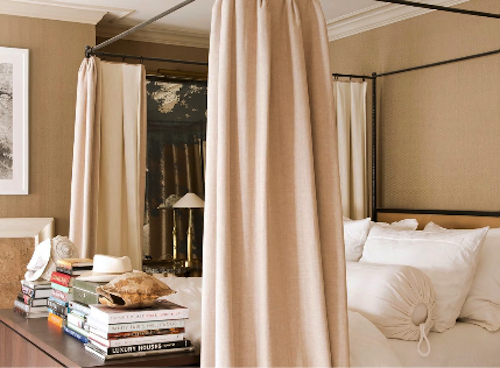 love the thick drapes added to the bed & Love the dark fabric with the nude curtains. | My Bedroom Wishes ...