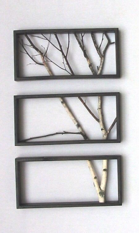 Love This Idea DIY Tree Branch Frame Home Decor And Design Wall - Fallen branch is repurposed to create beautifully unconventional shelf