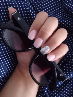 Acrylic Nails Light Pink With Gray Glitter