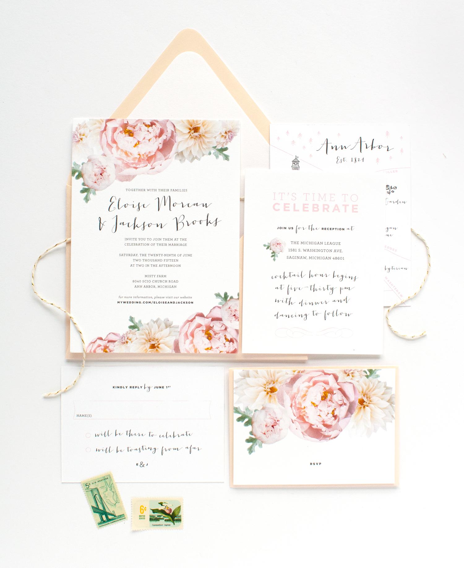 Blush Peony Wedding Invitation Suite | Blush peonies, Peony and Weddings