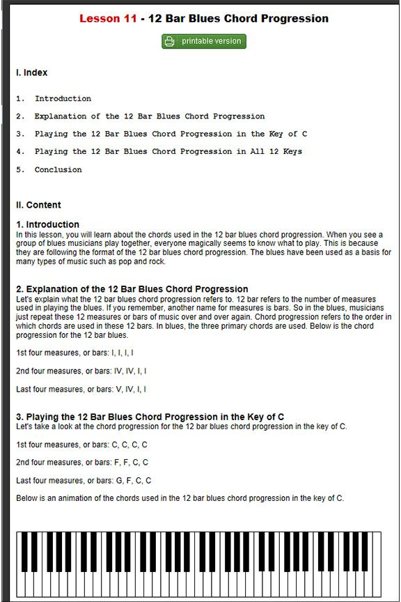 50 Free Piano Lessons - #11. Blues Chord Progressions (Beginner ...
