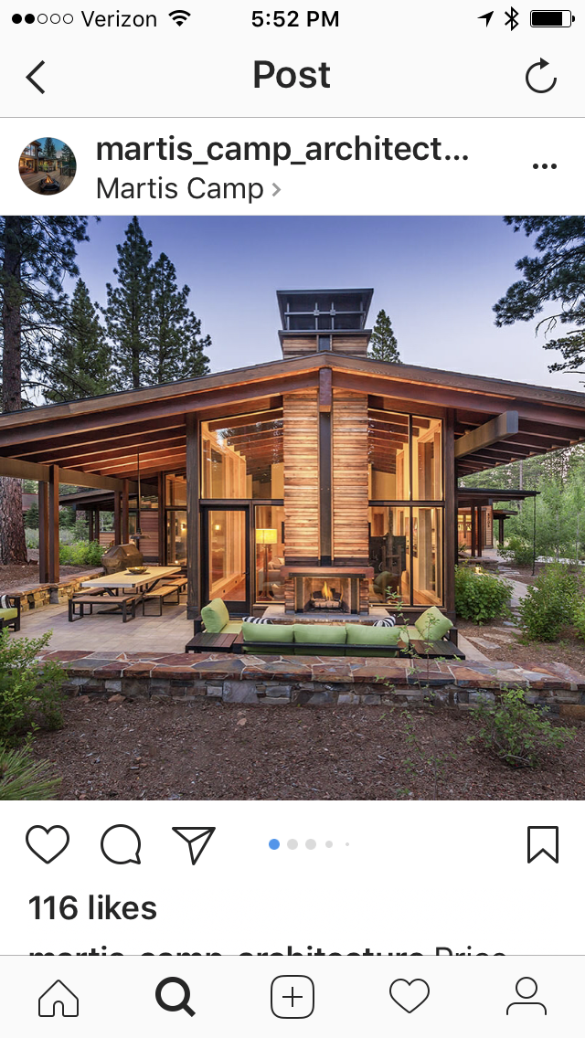 Fireplace Indoor Outdoor I Like The Big Roof Overhang Building A House House In The Woods House Exterior