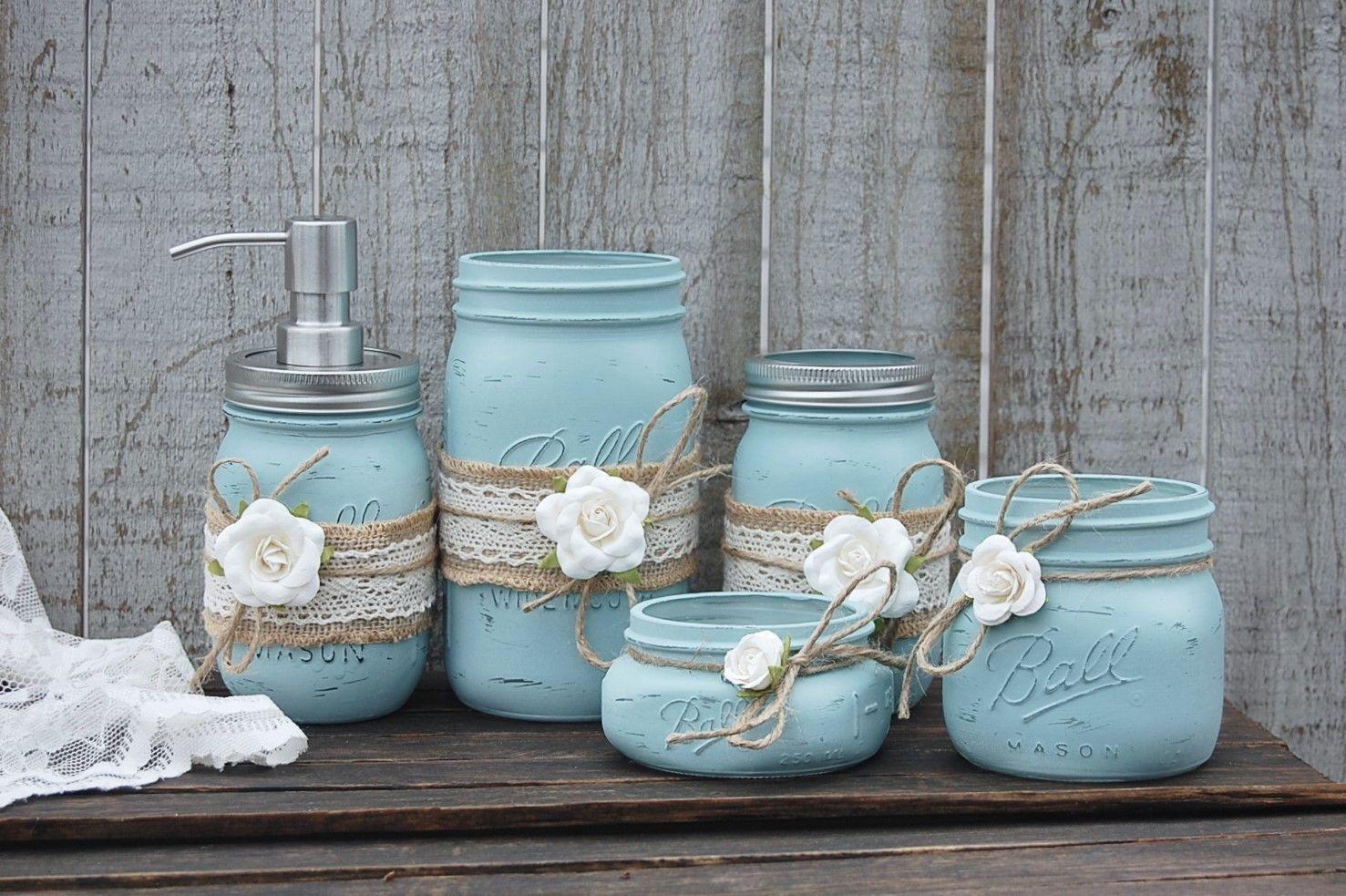 Blue & ivory bathroom set