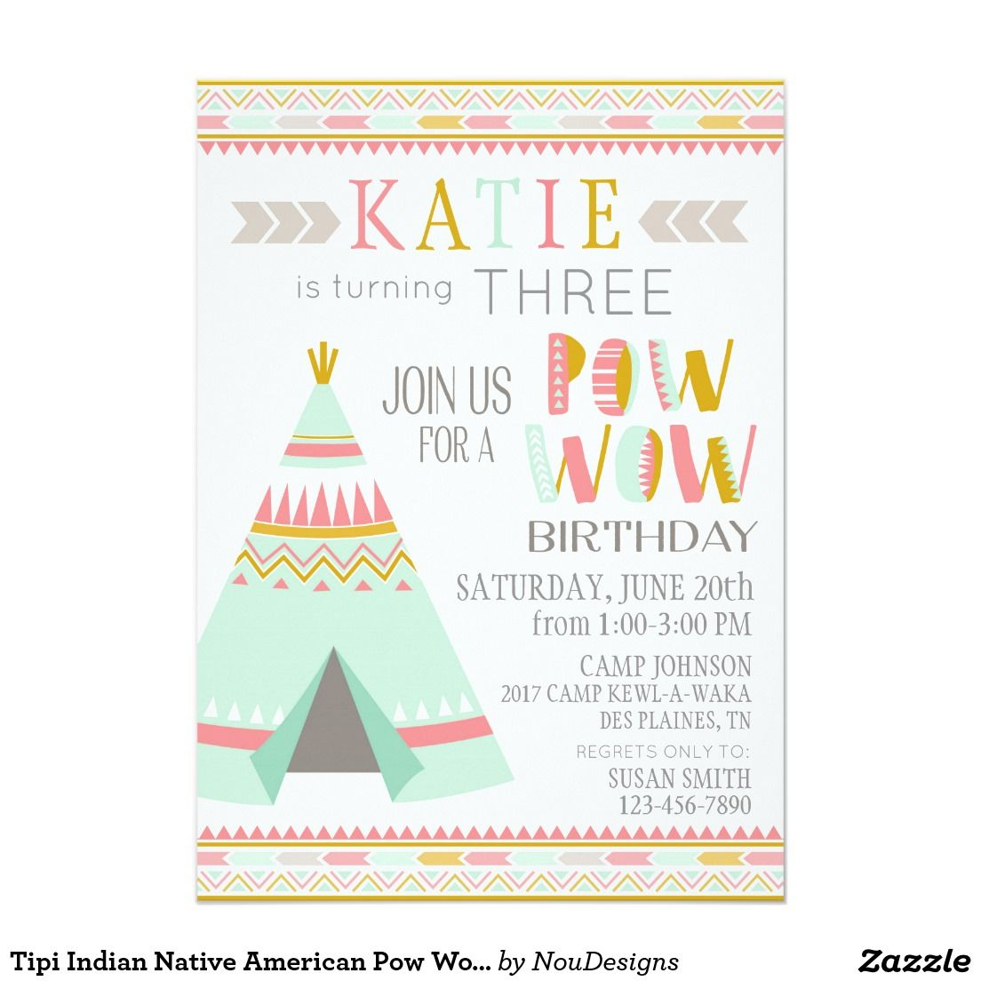 Tipi Native American Indian Pow Wow Birthday Invitation Pinterest