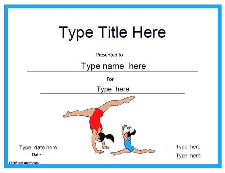 Sports Certificate  Gymnastic Template  CertificatestreetCom