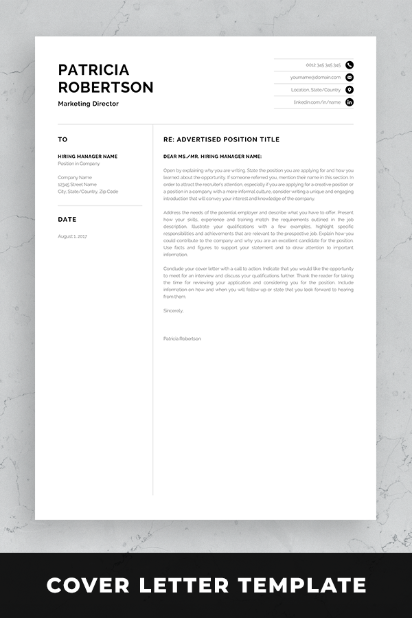 Professional 1 Page Resume Template Modern One Page Cv Etsy Portfolio Template Design Portfolio Layout Template Cover Letter Design