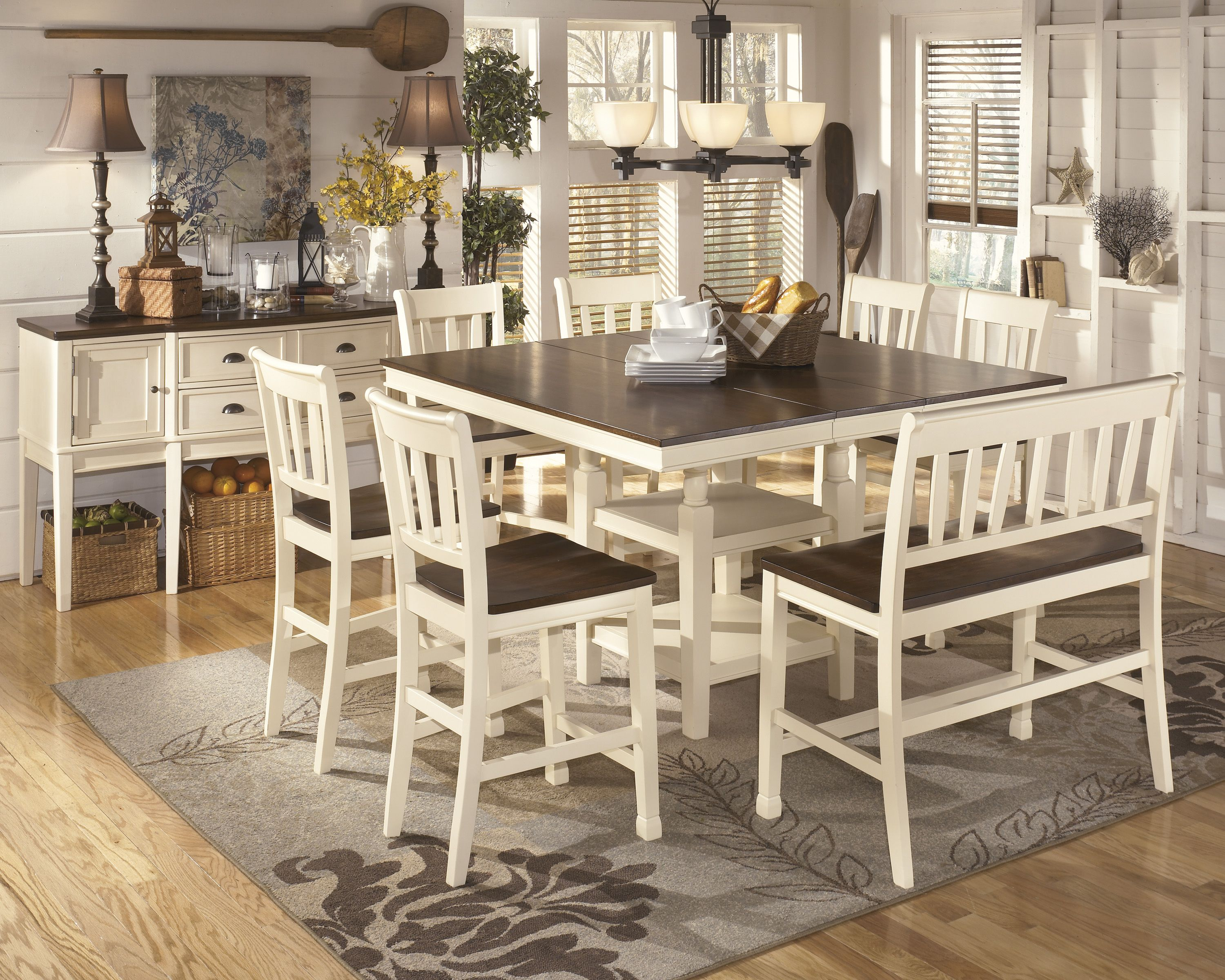 Whitesburg Dining Set D583 Incorporate cottage cool warmth in