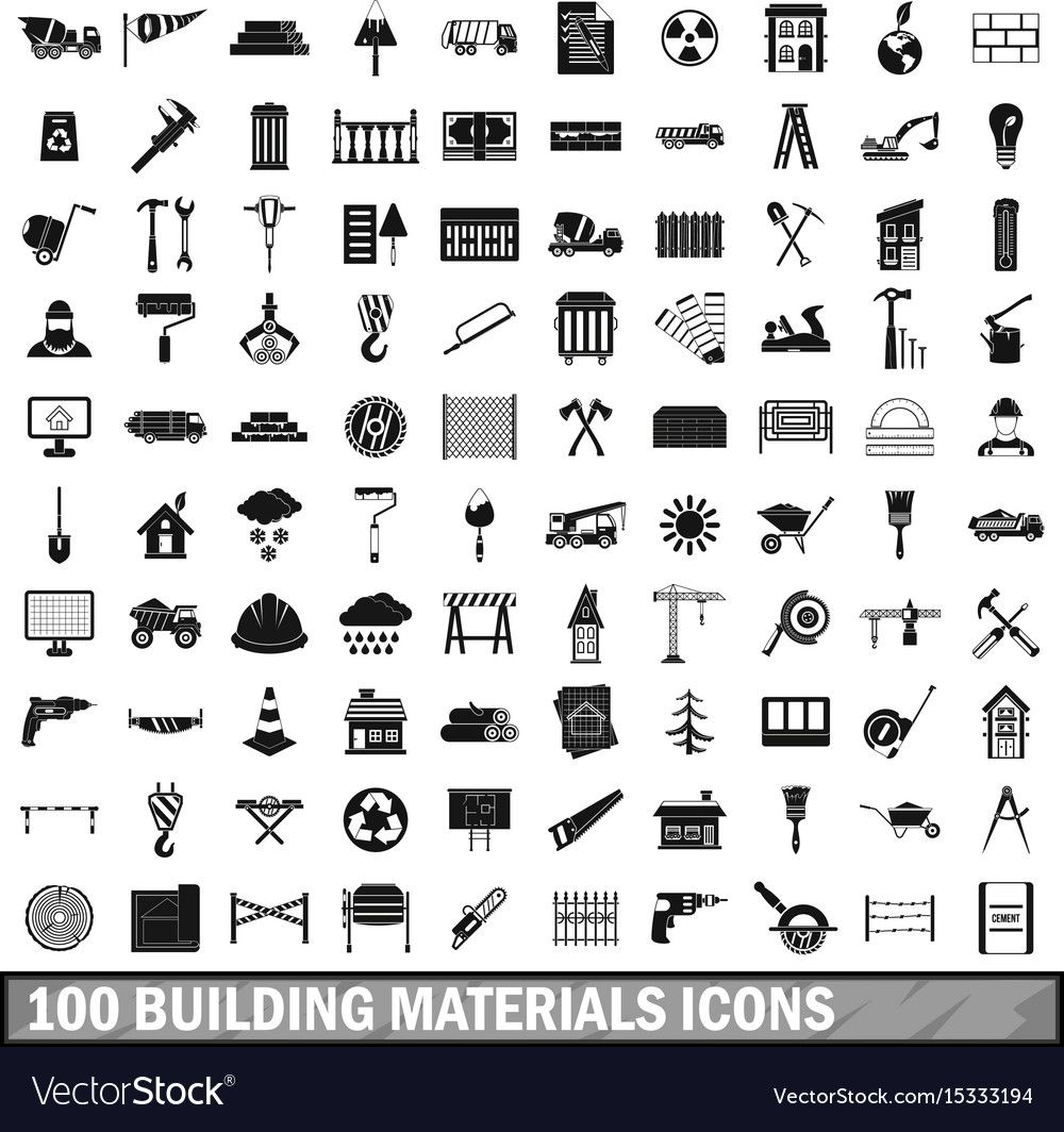 100 Building Materials Icons Set Simple Style Vector Image On