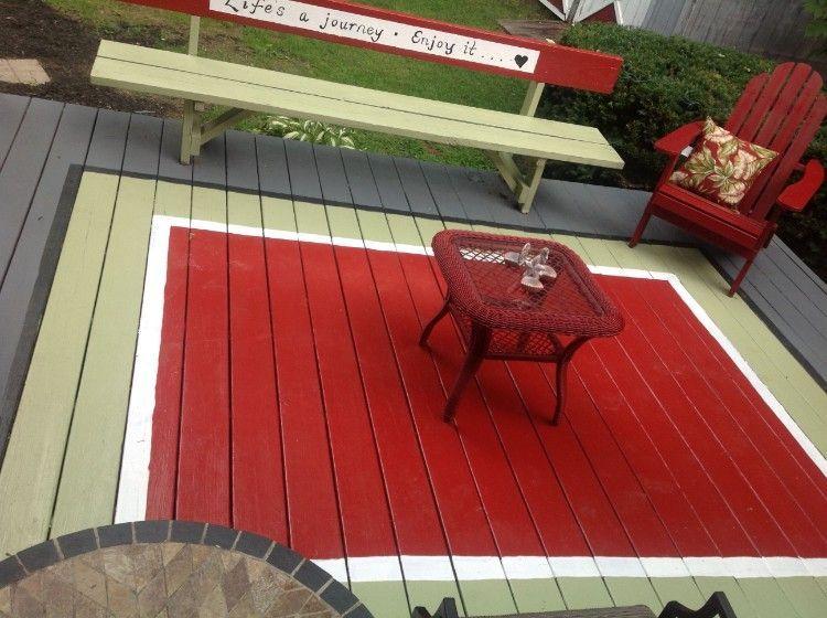 Peinture terrasse bois réalisez un tapis peint et égayez l\u0027espace - Peindre Une Terrasse En Beton