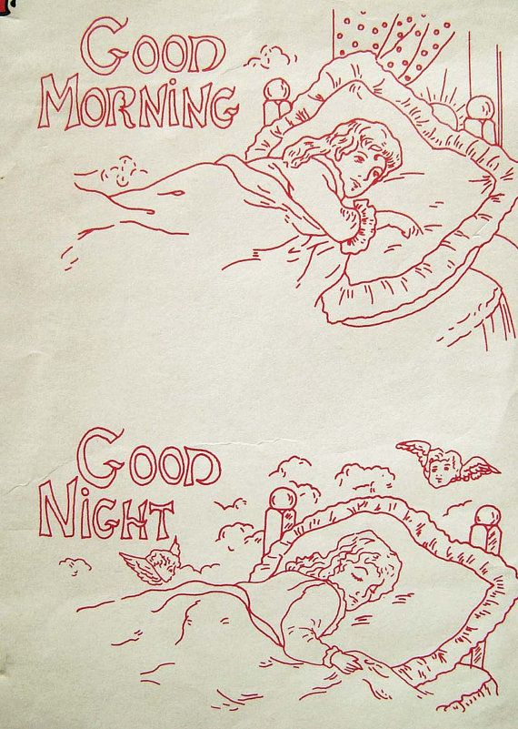 Good Morning Night REDWORK Embroidery Transfer to by AppelJar