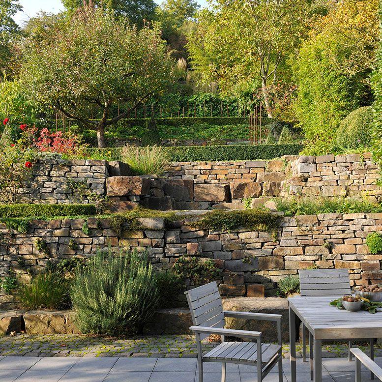 Garden wall natural stone GartenLandschaft Berg Gartenmauer - garten steinmauer wasserfall