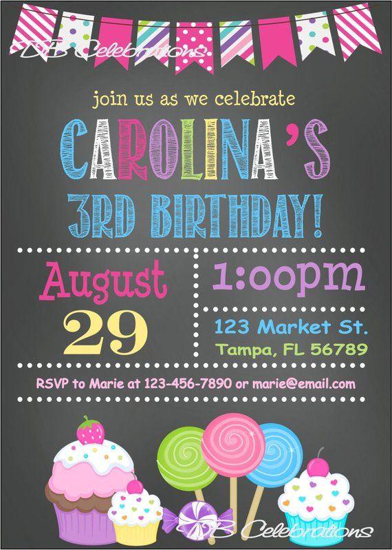 sweet shoppe chalkboard printable invitation  digital invitation  candyland birthday party