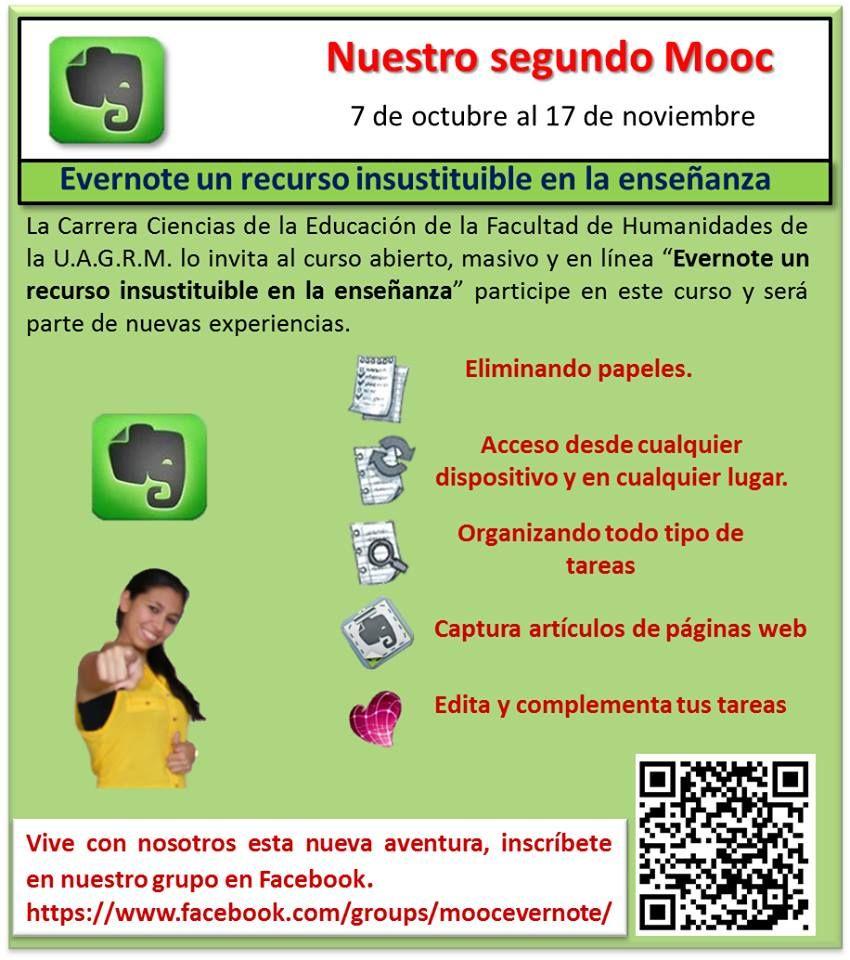 Invitación al II MOOC de Tecnología Educativa: Evernote un recurso insustituible en la enseñanza.