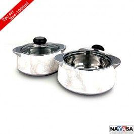 Nayasa Insulated Casserole Glimmer set of 2 Pcs White, 1000ml