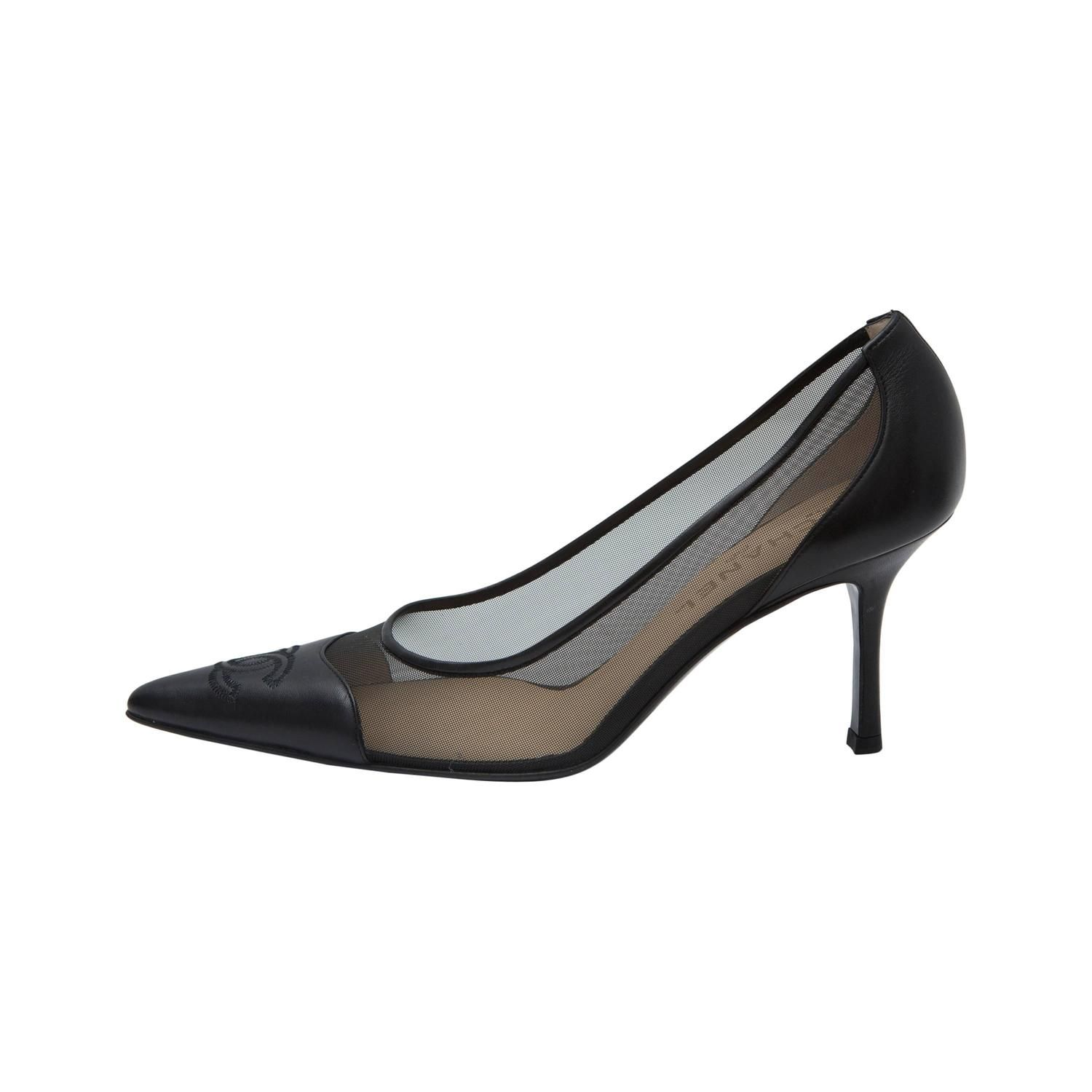 2ff9bc6efdbc Chanel Pointy Toe Leather and Mesh Black Kitten Heel Pumps