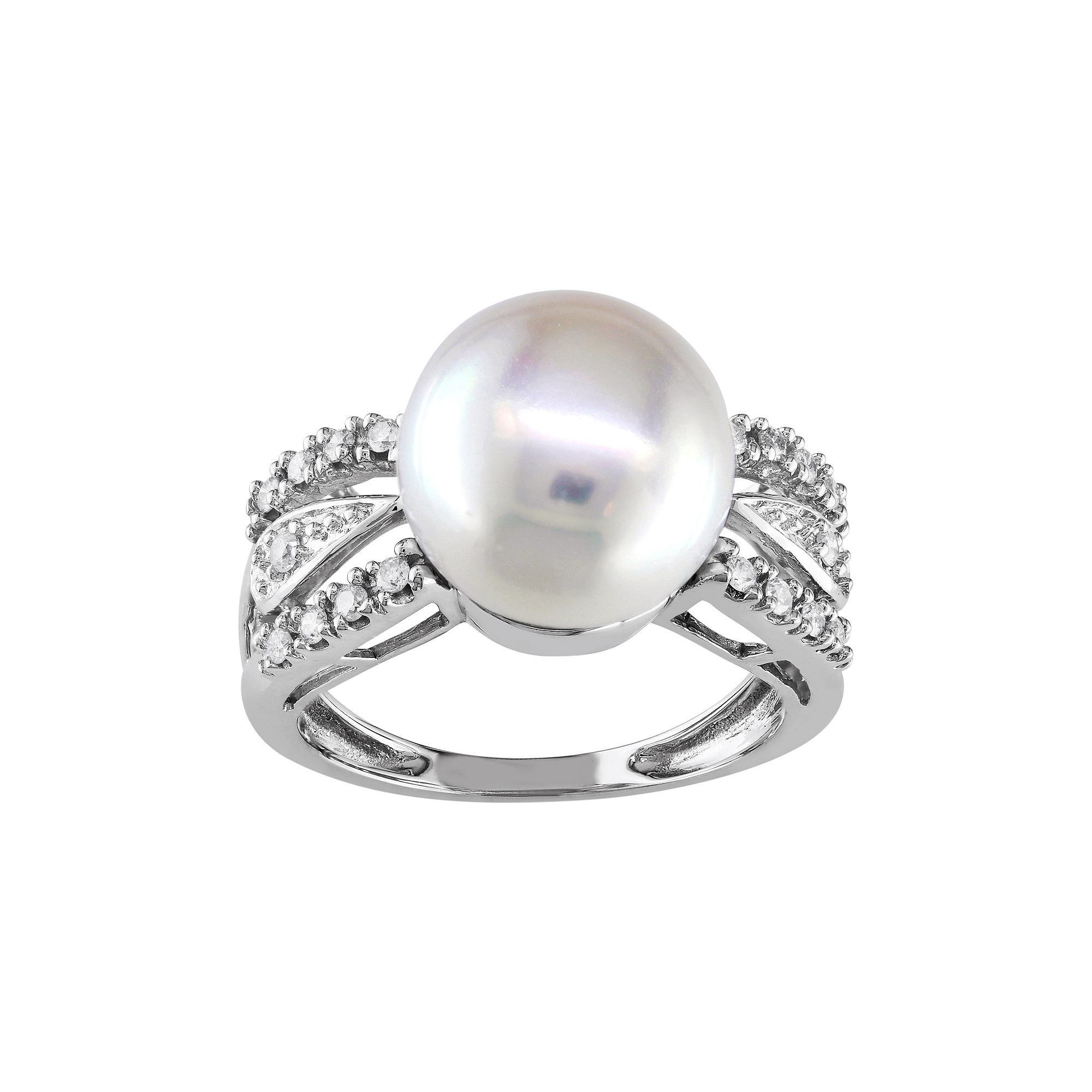 14k White Gold 1/8 Carat T.W. Diamond & Freshwater Cultured Pearl Ring, Women's, Size: 7