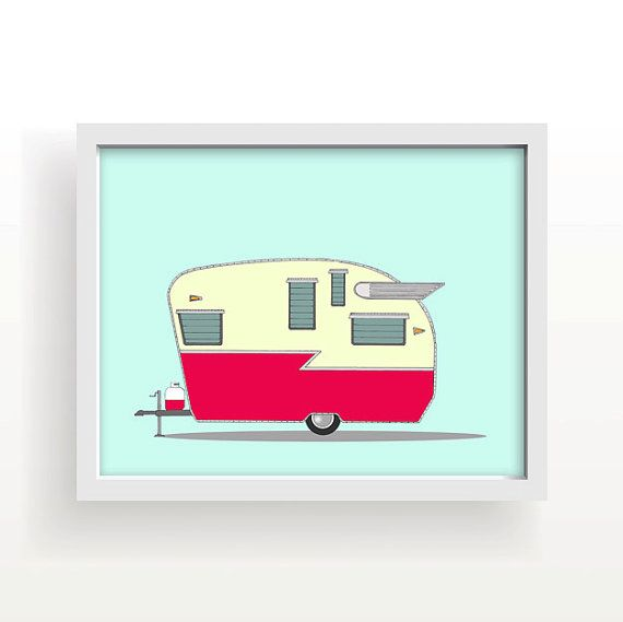 "vintage camper, camper trailer, camper, large wall art, red, blue, shasta, airflyte, wings, home decor, modern wall art - ""Shasta Airflyte"""