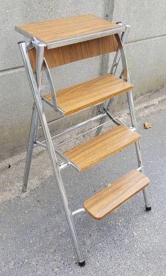 Chaise formica escabeau escamotable, vintage, années 70