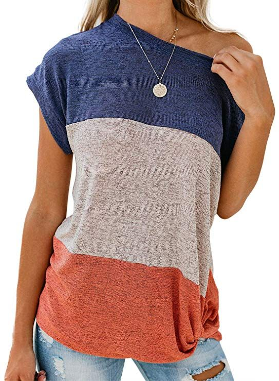 ca10acb4aff1f0 GOSOPIN Womens Short Sleeve T Shirt Color Block Twist Casual Blouses and  Tops #tops #blouses #shirts #tshirts #trendinginunitedkingdom  #womensfashion ...