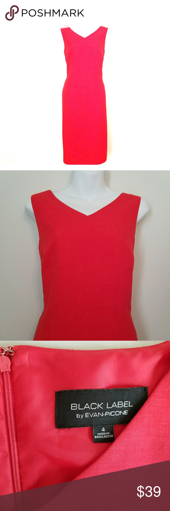 Evan picone red sheath sleeveless dress size stunning sheath
