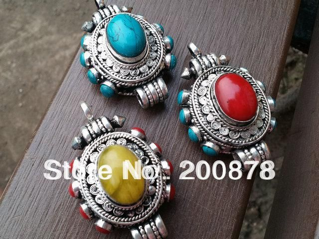 Tgb070 nepal india antiqued silver colorful beads prayer box tgb070 nepal india antiqued silver colorful beads prayer box pendantstibetan prayer box amuletturquoise coral amber aloadofball Image collections