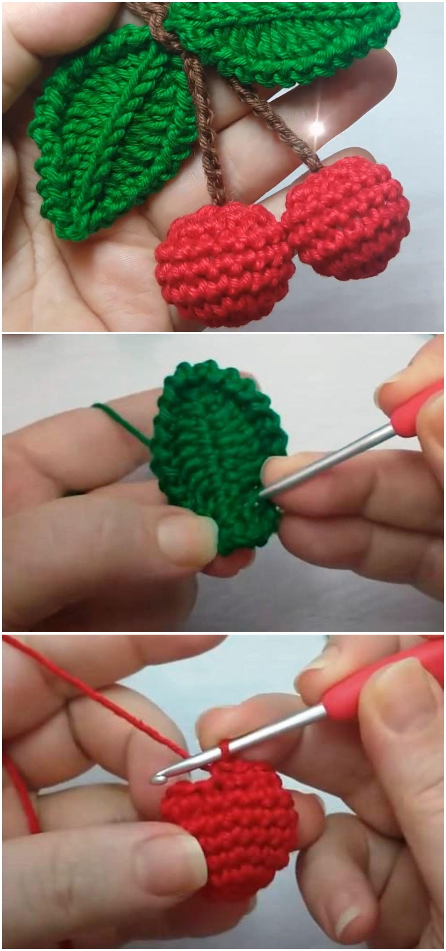 Crochet Cherry Applique - We Love Crochet