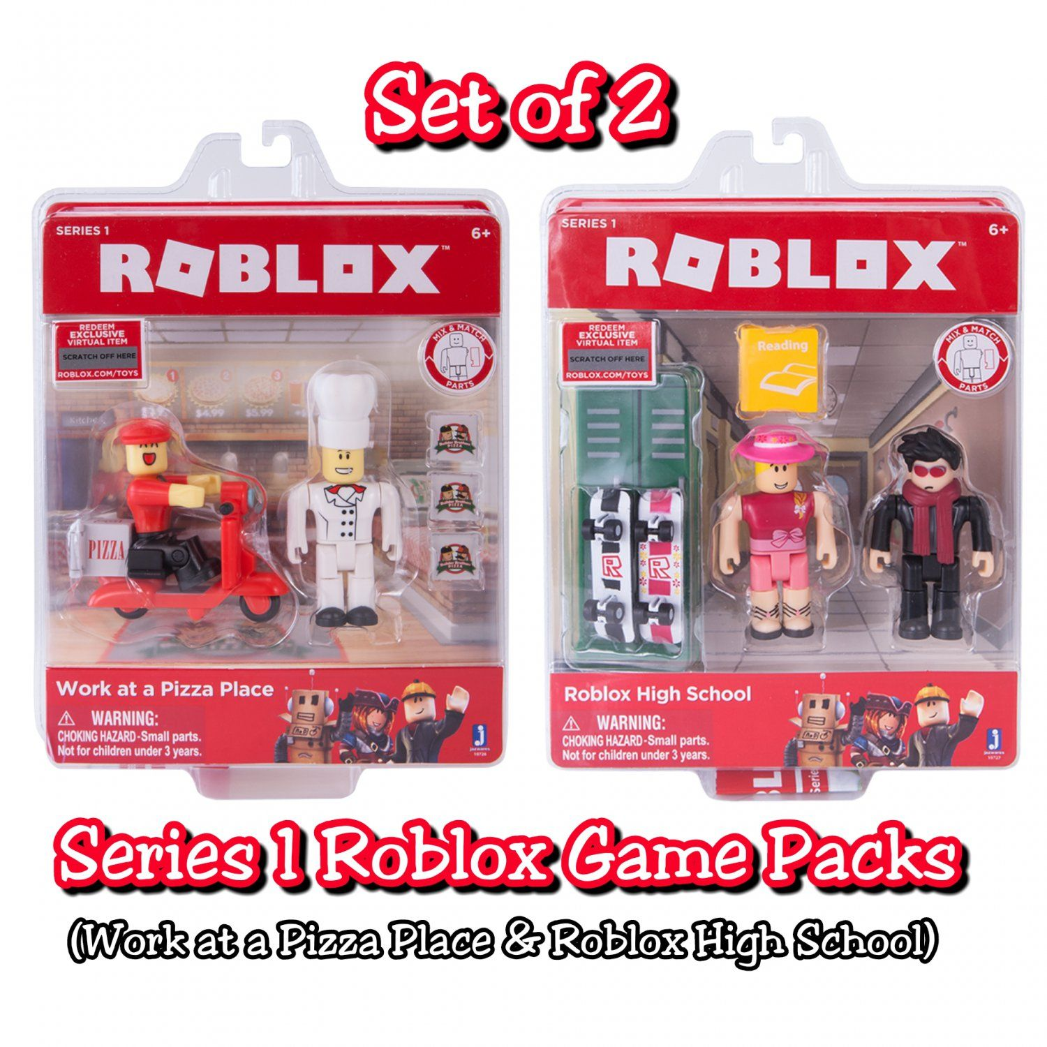 Set Of 2 Roblox Series 1 Game Packs Work At A Pizza Place 10726 Roblox High School 10727 By Jazwares Pizza Place Roblox High School