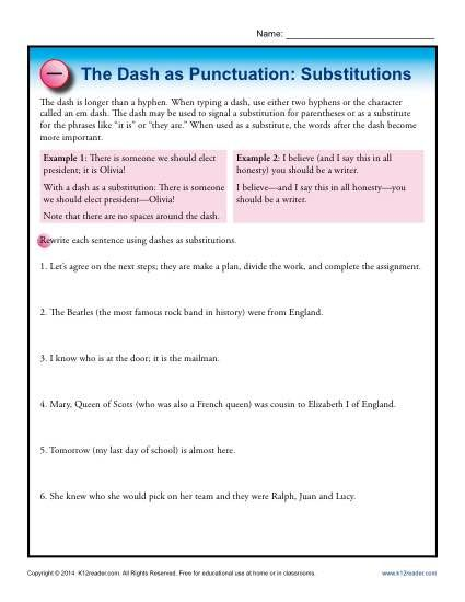 The dash as punctuation substitutions punctuation worksheets and punctuation practice worksheet the dash theres a great punctuation mark that students need to know aboutthe dash this worksheet features the dash when fandeluxe Choice Image