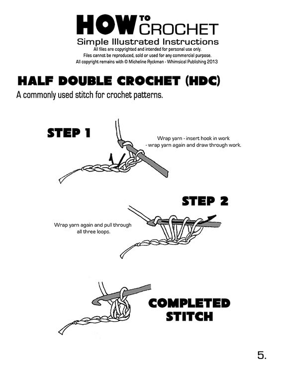 Crochet Free Simple Illustrated Instructions Whimsical Publishing Half Double Crochet Stitch Double Crochet Stitch Crochet Basics